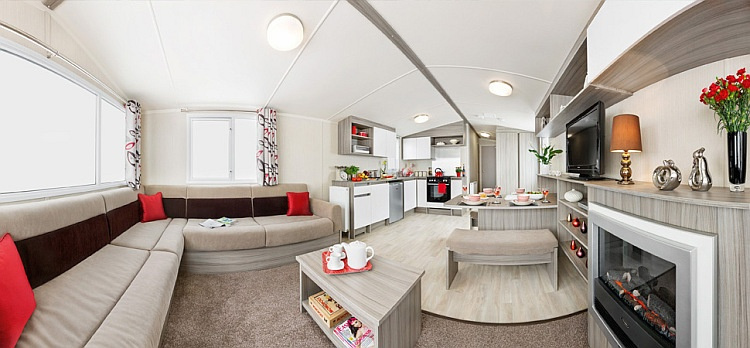 Living space layout of a holiday caravan at Sun Valley Resort